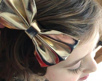 Big gold bow, gold leather bow, gold bow, gold bow clip