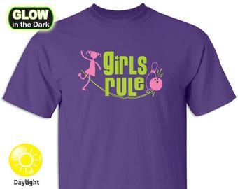 Girls Rule Bowliing Glow in the Dark T-shirts (limited) –Youth Medium Only