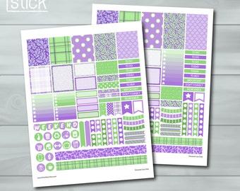 Purple Mint Planner Stickers - PRINTABLE JPG Sheet - 2 Versions: Happy Planner & Erin Condren Life Planner (Vertical)