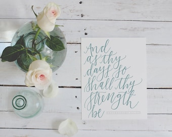Hand-lettered Deuteronomy 33:25 Scripture Print