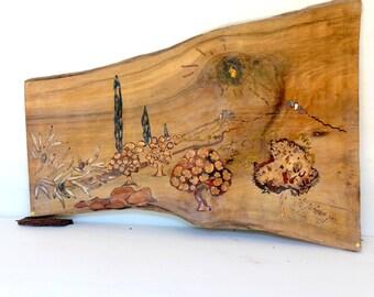 Unique Inlay on Wood Landscape Artwork original Provençal Landscape scenery