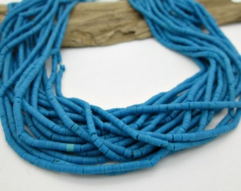 """Tiny Blue Turquoise Tube Bead, Afghan Turquoise Bead, Genuine Turquoise Bead, Turquoise Spacer Bead 2mm (12"""" strand)"""