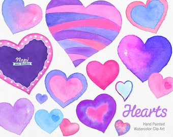 Hearts Watercolor Clipart, Heart Elements, Valentine's Day Clipart, Hand Painted Pink Purple Heart, Wedding Love Romantic, DIY Scrapbooking