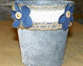 Metal Pail, Denim Flowers, Burlap Decorated Grey Galvanized Metal 4 1/2 Inch Bucket, Just add Potted Flowers, Great Centerpieces, Weddings