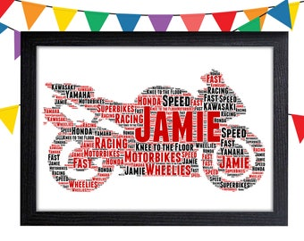 Motorcycle Gifts Personalized Gift Wall Art Wall Prints Wall Art Wall Decor Motorbike Gifts Personalised Gift Wall Art Prints Dad Gifts