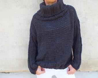 Chunky sweater/Cozy sweater/chunky wool sweater/ handknit sweater/ Turtleneck