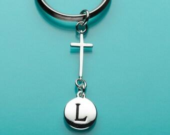 Cross Keychain, Cross Key Ring, Religious Symbol,  Initial Keychain, Personalized Keychain, Custom Keychain, Charm Keychain, 91