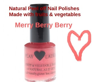 Beautiful Merry Berry Berry (red/coral). Vegan,peel off polish made with fruits &vegies, quick dry, gluten free,odorless,5-free. Sale Price!