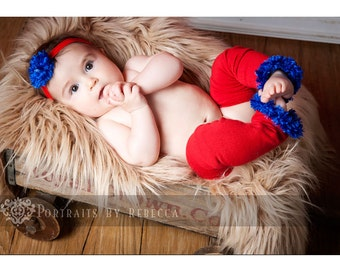 Red and Blue New England Patriots New York Giants Dallas Texans Baby Leg Warmers and Headband Set