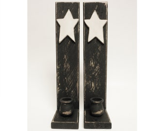 Candle Sconce Pair with Wood Star, Candle Holders, Wall Sconces, Primitive Country Decor