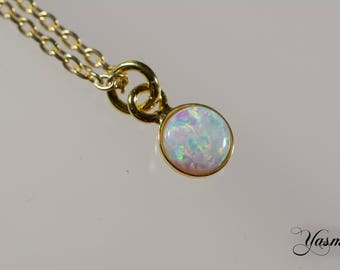 Opal in white with sterling silver gilded-optional finish