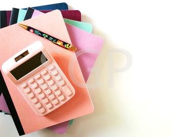 Notebooks, Pink Calculator and Floral Pen Stock Photography, Stock Photos Digital Download, Digital Paper, Scrapbook Journal Paper, Wall Art