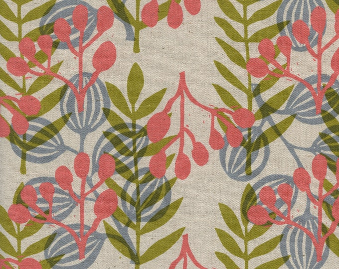PRESALE: Meadow in Coral (CANVAS pigment fabric) from Imagined Landscapes by Jen Hewett for Cotton + Steel