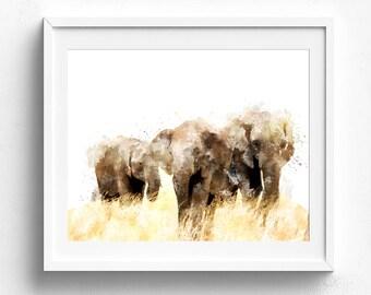 Elephant print, elephant art, elephant art print, watercolor elephant, nursery animal print, baby elephant elephant poster painting elephant