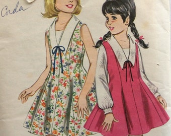 CLEARANCE!!  Butterick 3456 girls dress or jumper & blouse size 8 vintage 1960's sewing pattern   Uncut