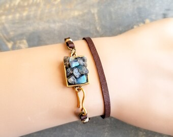 Leather Wrap Bracelet, Labradorite Bracelet, Gemstone Bracelet, Wire Wrapped, Boho Wrap Bracelet, Brown Leather Bracelet, Gift For Her