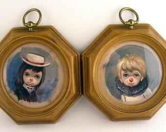 Vintage Ozz Franca Big Eyed Sad Clown Hobo Children Framed Prints Lot of 2