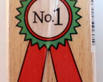 N0 1 First Place Ribbon Studio G Wooden Rubber Stamp #INV113