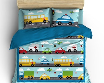 Things That Go Vroom Theme Kids Duvet Cover Pillow Case Cars Trucks Police Car Bus Transportation Boys Bed Bedding Set by Pickleberry Kids