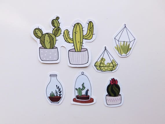 Plant mom stickers cactus and succulent terrarium bullet