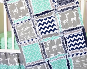 Giraffe Bedding Crib Size Rag Quilt - Navy / Gray / Mint Flannel Baby Blanket - Baby Jungle Theme Safari Nursery Decor - Baby Boy Nursery