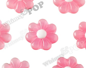 5 - Pink Flower Daisy Sunflower Resin Decoden Cabochons,  17mm (R3-125)