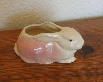 Vintage en céramique lapin lapin jardinière rose et blanc