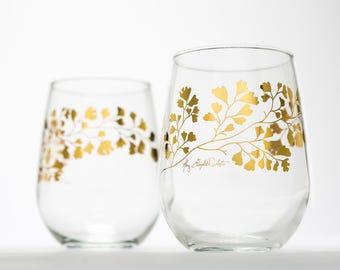 Gold Maidenhair Fern Glassware - Set of 2 stemless wine glasses, gold ferns, Christmas Glasses, Holiday Tabletop, Christmas Decor Gold Glass