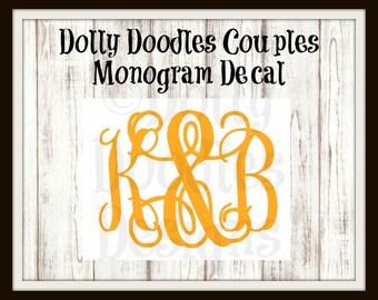 Couples Monogram Decal - Vinyl Monogram Decal - Couples Decal - Vinyl Decal - Customized - Personalized - Monogram - Initials