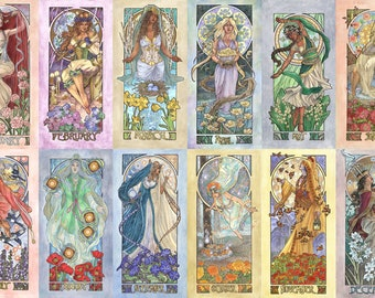Ladies of the Months 12 Print Set Art Nouveau Mucha Style Goddess Birthstone Series