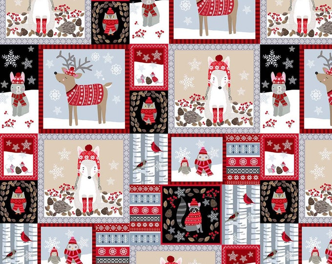 Snow Delightful by Studio E - Woodland Animals Patchwork - Cotton Woven Fabric