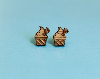 Ice Cream Sundae Earring Studs, Laser Cut Wood, Froyo, Sweet Dessert, Ice Cream Parlor,  Soft Serve, Laser Etched, Sustainable Wood Earrings