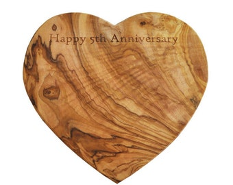 Personalized Olive Wood Heart Shaped Cutting Board / Cheese Board