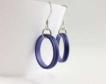 Lightweight dark blue quilled paper hoop dangle earrings, sterling silver earrings, colorful drop hoop earrings, bridesmaid earring gifts