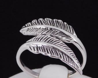 Sterling Silver Dualing Feather Statement Ring