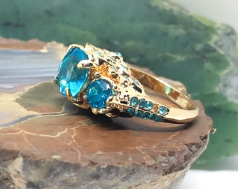 Gorgeous Aquamarine 10k Gold filled Ring