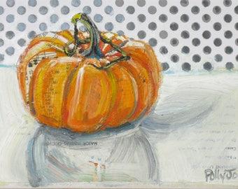 Last Pumpkin original acrylic mixed media still life painting by Polly Jones