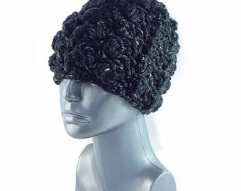 Black Crochet Hat, Chunky Unisex Crochet Beanie, Warm Winter Hat, Chunky Cluster Crochet Hat