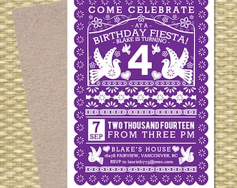 Birthday FIESTA Printable Birthday Invitation Papel Picado Mexican Fiesta Cinco de Mayo First Birthday, Any Event, ANY COLORS