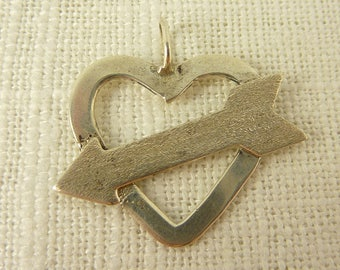 Vintage Sterling Heart with Arrow Pendant