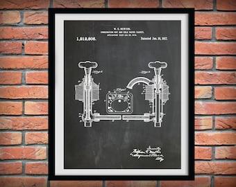 Patent 1917 Faucet - At Print - Bathroom Wall Art  - Poster Print - Wall Art - Toiletry Art - Lavatory Art