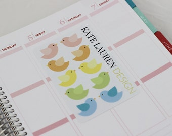 Bird Stickers, Pastel Planner Stickers for Erin Condren, Happy Planner, Filofax, kikki.K, Plum Paper Planner, Pastel
