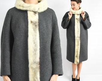 60s Gray Wool Coat | White Mink Collar and Trim | Mr Morris | Large