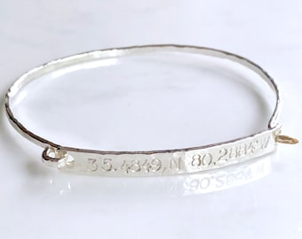Coordinates cuff bracelet-sterling silver
