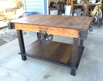 Vintage Lineberry Frieght Cart Table Kitchen Island