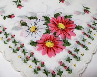 Vintage Handkerchief Pink And White Daisies