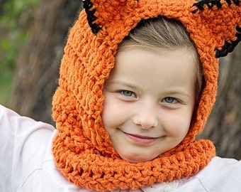 THE FOX Hooded Cowl, Crochet fox hood - Fox Hat -Fox Cowl/Neck Warmer  (Ready to Ship)
