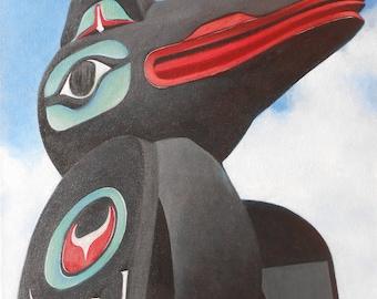 Totem, Alaska, Pacific Northwest, Native American, Raven, Photo of Original Acrylic Painting