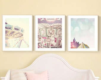 Beautiful Nursery Art Set Of 3, Pastel Wall Art For Girls Room, Little Girl Bedroom