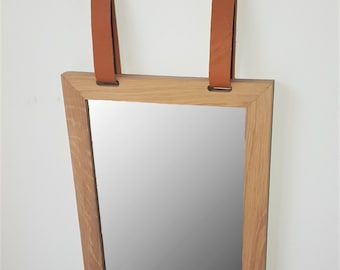 Oak Wood and Leather Mirror